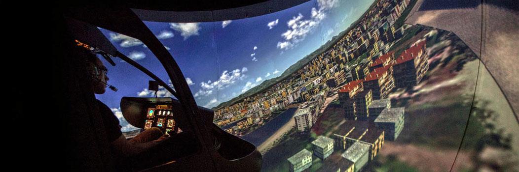 Visual esférico 200 x 70 con sistema visual de 5 proyectores